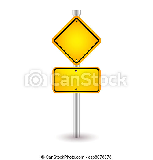 yellow road sign with shadow - csp8078878