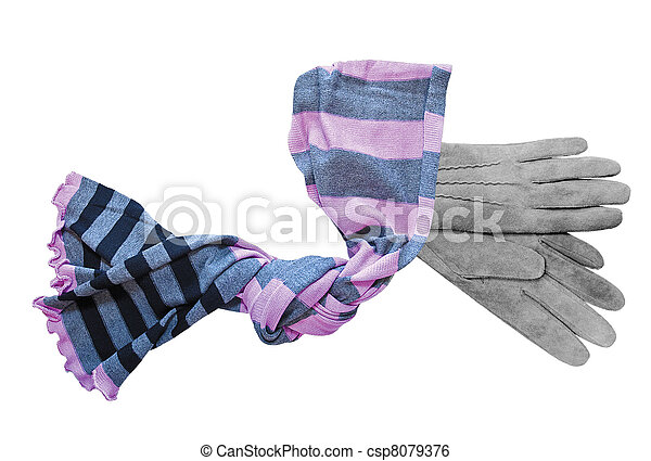 Beautiful grey suede (leather) women's gloves and color neckerchief isolated on white - csp8079376
