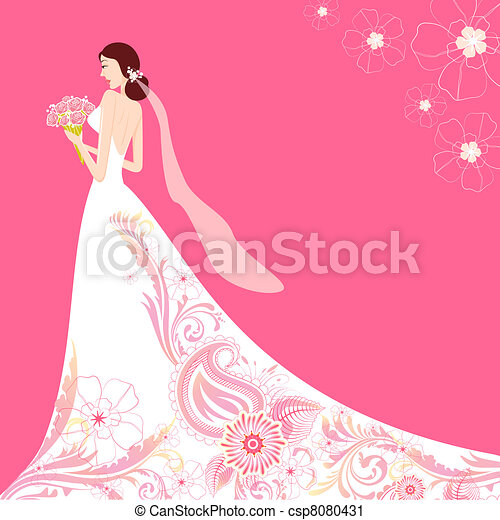 Bridesmaid With Flowers Silhouette Clip Art Bride in floral wedding ...