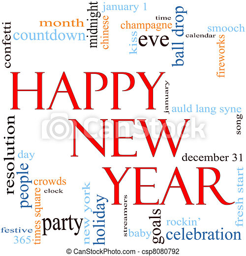 Happy New Year Word Cloud Concept - csp8080792