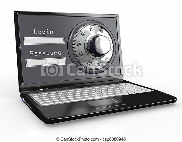 acciaio,  laptop, parola accesso, serratura, sicurezza - csp8080948