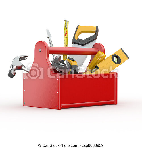 Toolbox with tools. Skrewdriver, hammer, handsaw and wrench - csp8080959