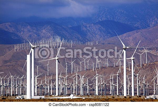 Wind Turbines Coachella Valley Palm Springs California - csp8081122