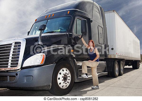 Woman Truck Driver - csp8081282