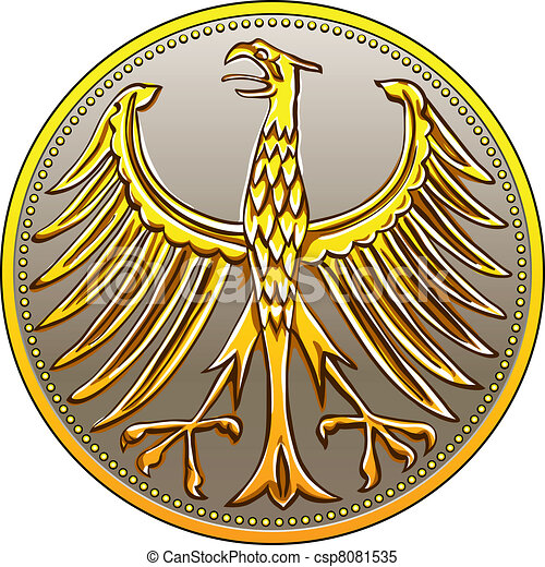 vector Germany Money gold coin with heraldic eagle - csp8081535