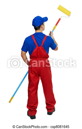 painter man in uniform with paint roller - csp8081645