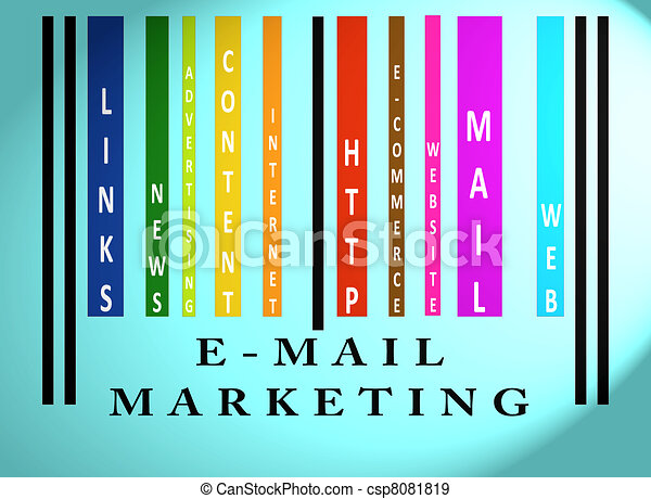 E-mail Marketing word on colored barcode - csp8081819