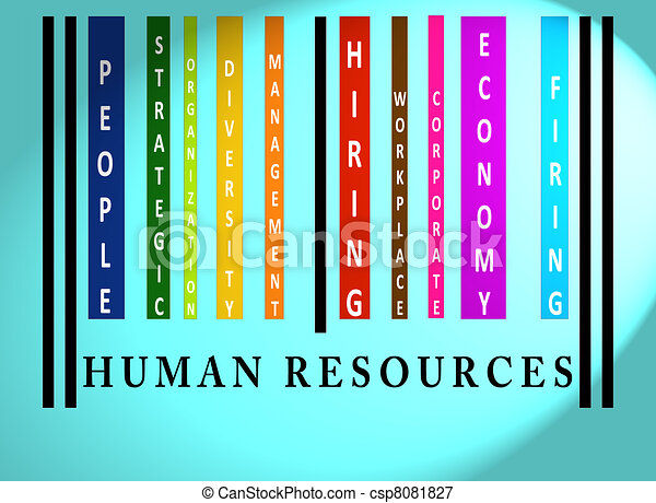 Human Resources  word on colored barcode - csp8081827