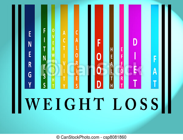 Weight Loss word on colored barcode - csp8081860
