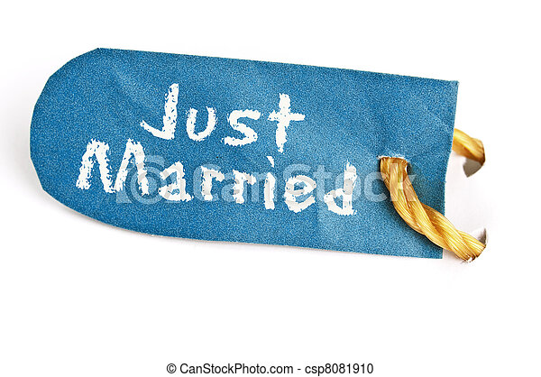 Just Married word on label - csp8081910