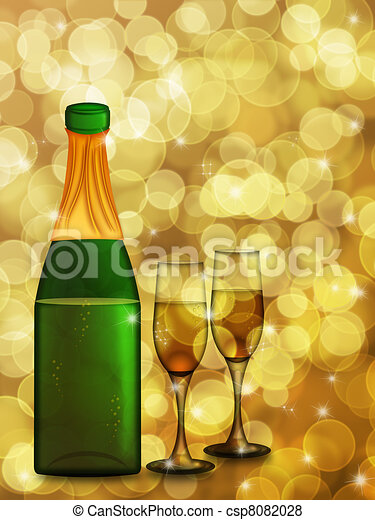Champagne Bottle and Two Glass Flutes - csp8082028