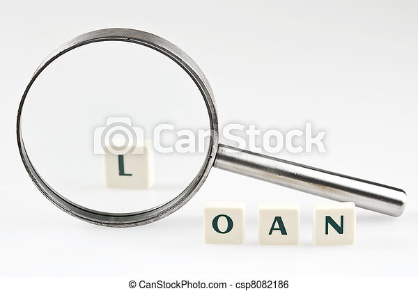 Loan word and magnifying glass - csp8082186