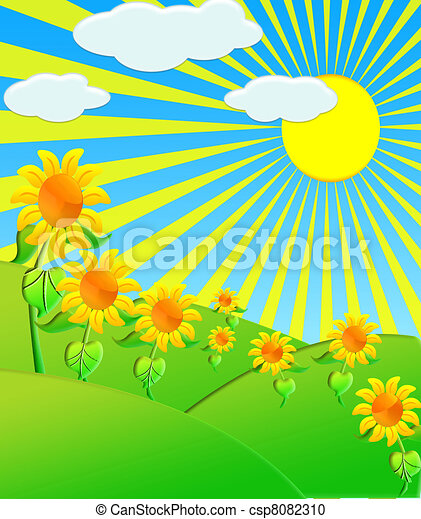 The Illustration sunflowers on meadow - csp8082310