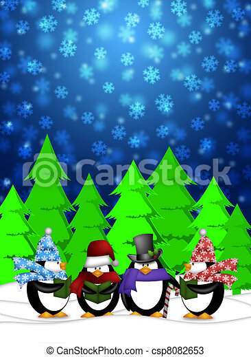 Penguins Carolers Singing Christmas Songs with Snowing Winter Scene Illustration - csp8082653