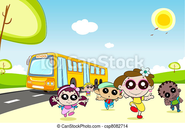 Kids coming out of School Bus - csp8082714