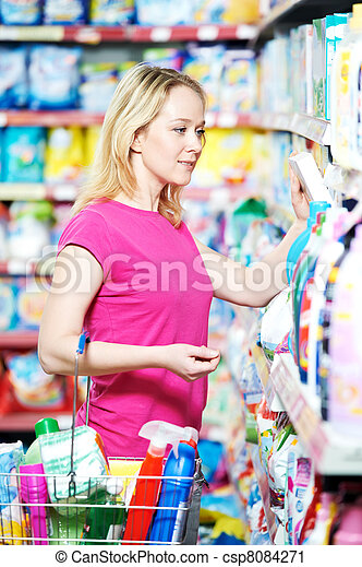 woman at household chemistry shopping - csp8084271