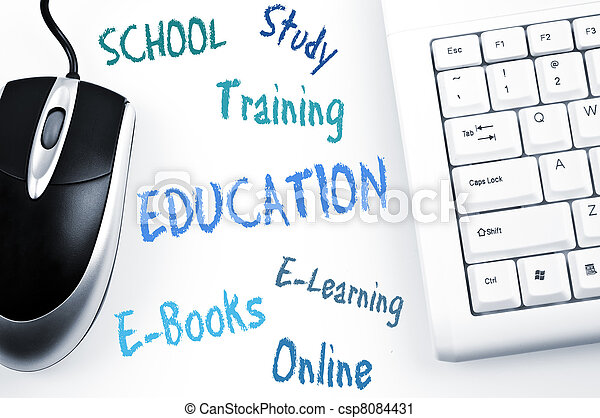Education word scheme and computer keyboard - csp8084431