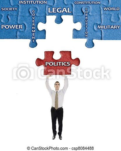 política, rompecabezas, hombre, palabra, Manos - csp8084488