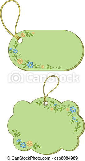 Tags with floral pattern - csp8084989