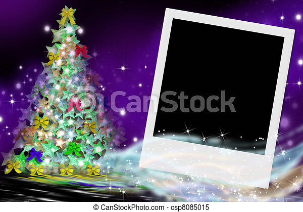 fir Christmas card and picture frame - csp8085015