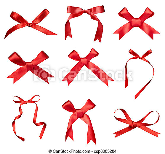silk ribbon knot gift christmas birthday holiday - csp8085284