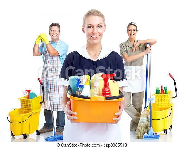 Young smiling cleaner woman. - csp8085513