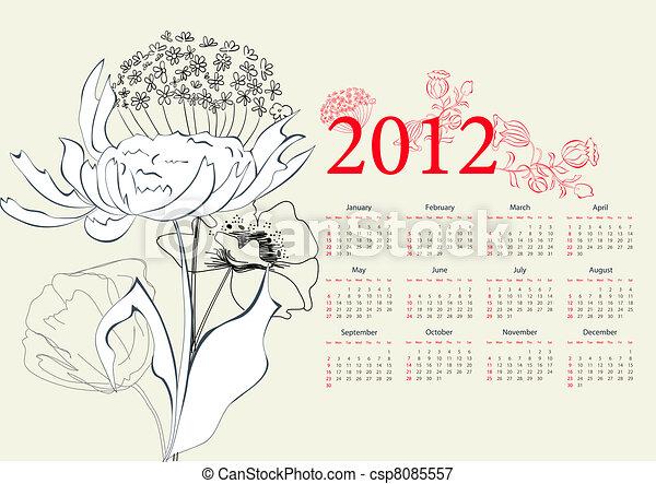 Template for calendar 2012 - csp8085557
