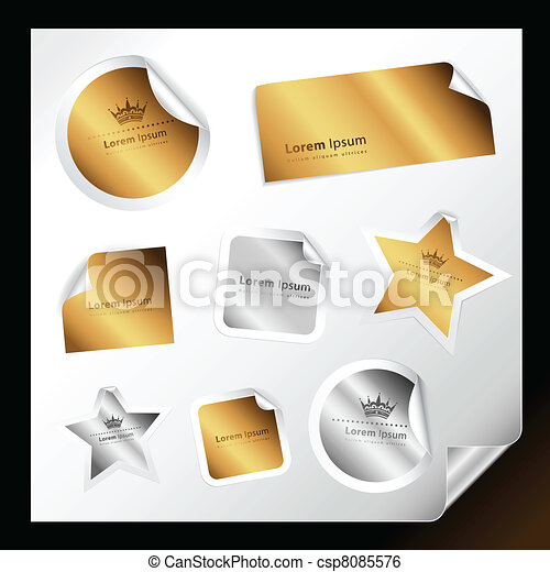 Gold and silver stickers - csp8085576