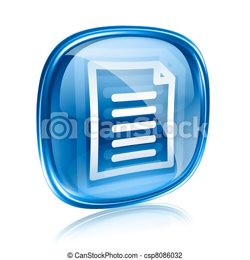 Document icon blue glass, isolated on white background - csp8086032