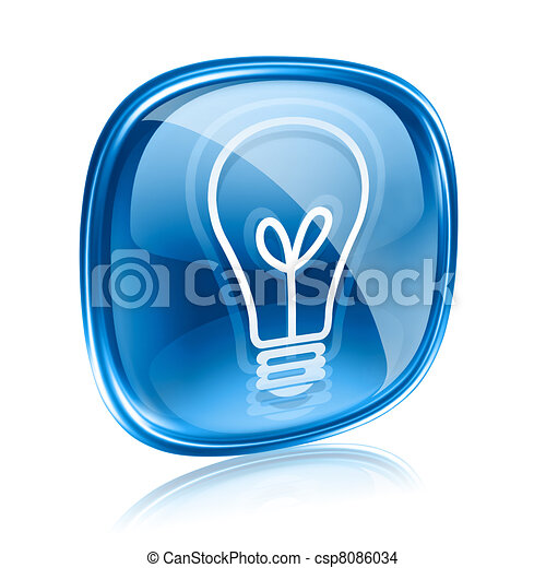 Light bulb Icon blue glass, isolated on white background - csp8086034