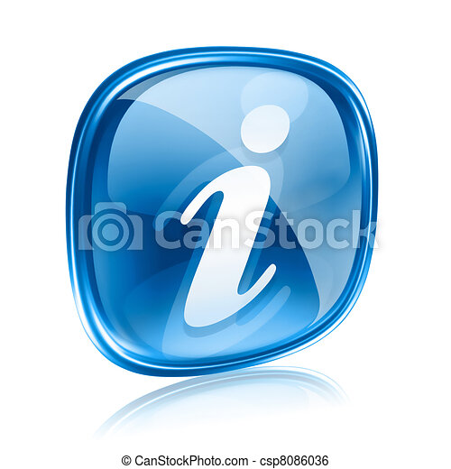 information icon blue glass, isolated on white background - csp8086036