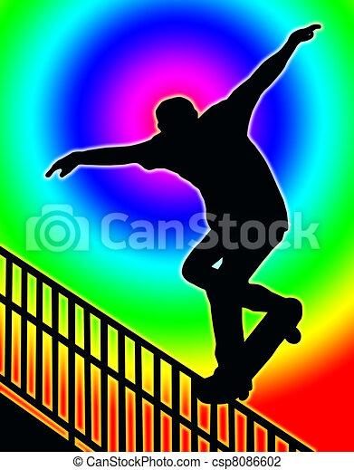 Color Circle Back Skateboarding Nosegrind Rail Slide - csp8086602