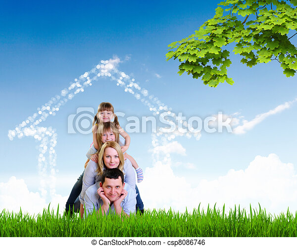 happy family spends time together - csp8086746