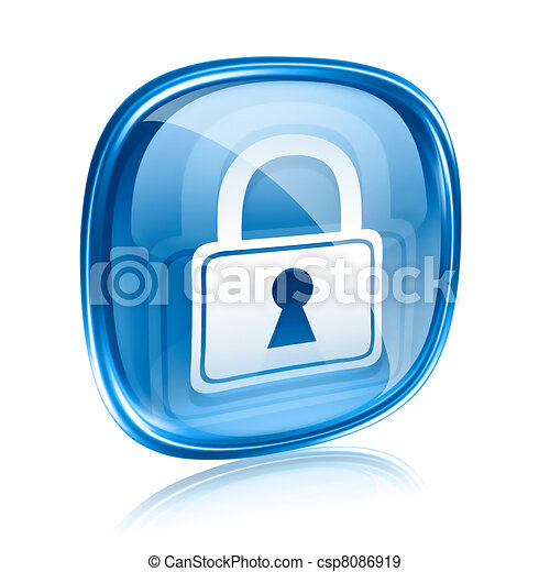 Lock icon blue glass, isolated on white background. - csp8086919