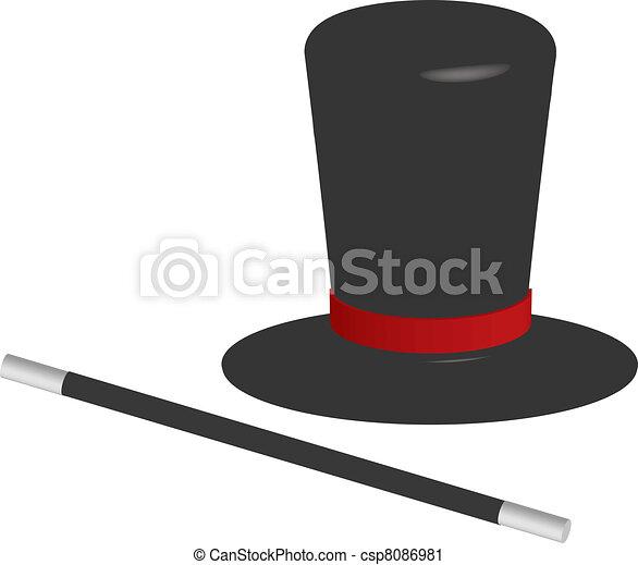 Clip art vecteur de magicien chapeau baguette vecteur illustration de csp8086981 - Dessin de chapeau de magicien ...