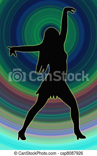 Color Circle Back Dancing Girl Spread Arms Pose - csp8087926
