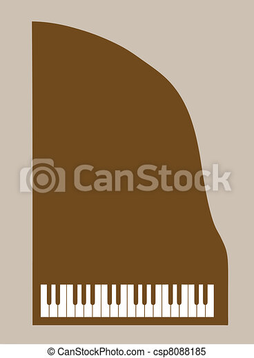 piano silhouette on brown background, vector illustration - csp8088185