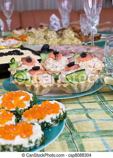 Christmas starter platter with appetizers. - csp8088304