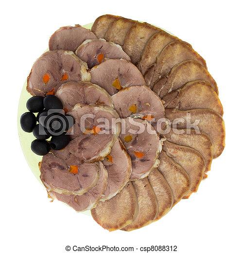 meat delicatessen plate - csp8088312