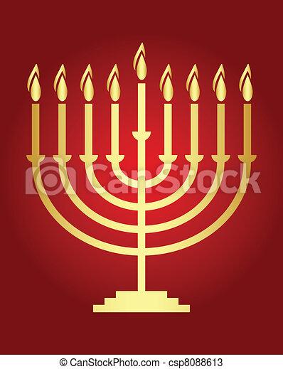Vector Hanukkah wish card  Vector  - csp8088613