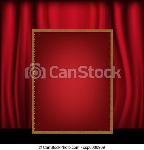 Red Curtain Background Blank Billboard - csp8088969