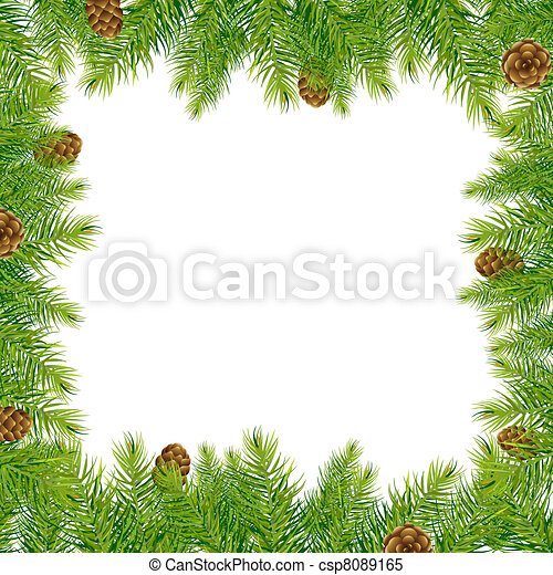 Border With Christmas Tree And Pine Cone - csp8089165