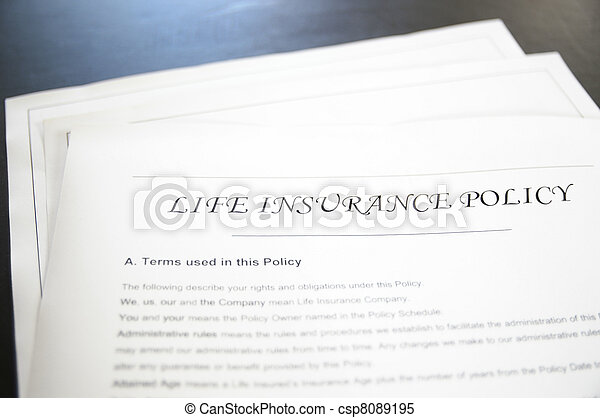 closeup of a life insurance policy  - csp8089195