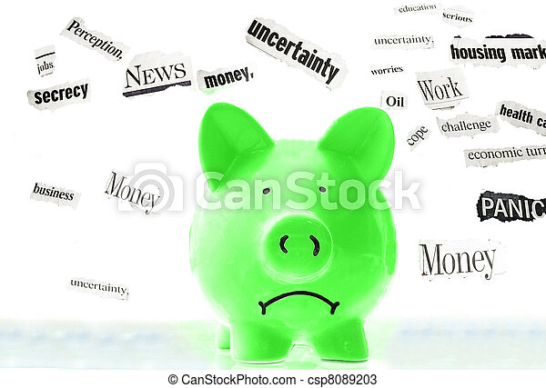 frowning pink piggy bank with bad economic news headlines - csp8089203