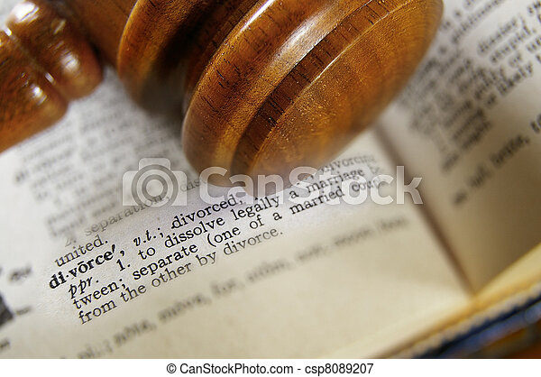 closeup of a gavel and divorce definition - csp8089207