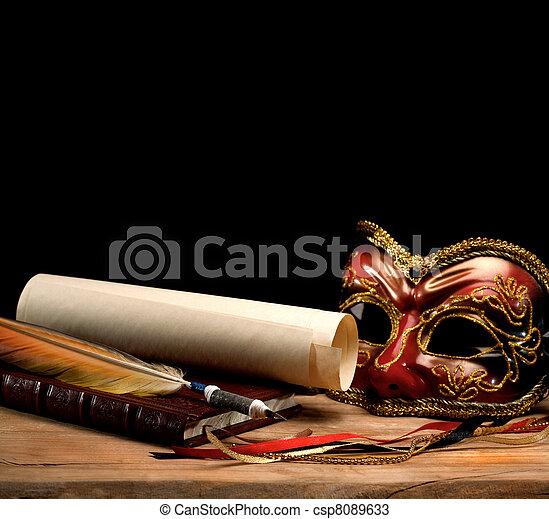 Art still life over old wooden desk - csp8089633