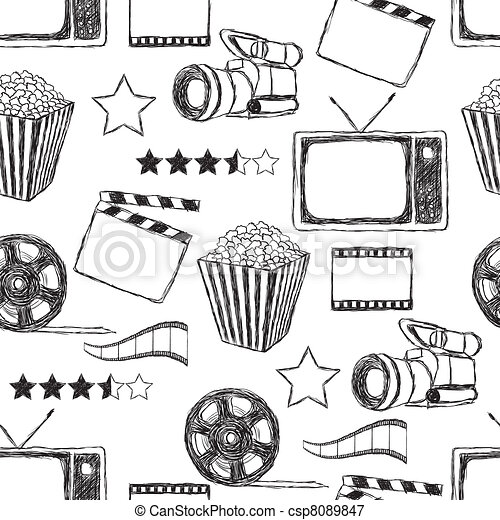 doodle movie  seamless pattern - csp8089847