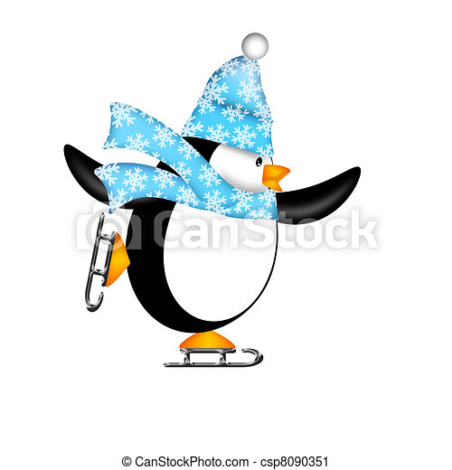 Cute Penguin on Ice Skates Illustration - csp8090351