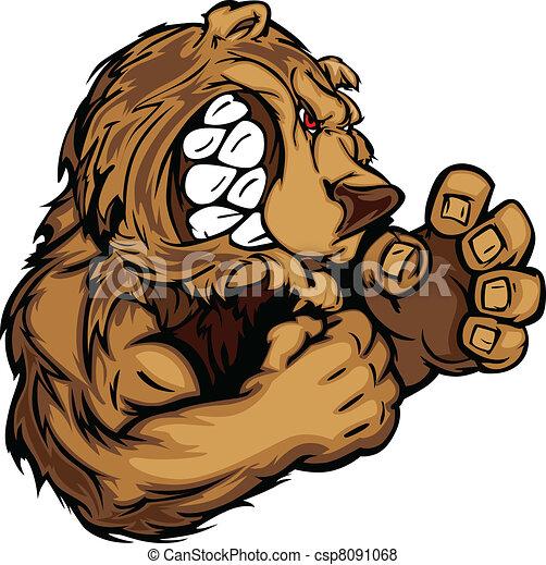 Bear Mascot with Fighting Hands Gra - csp8091068