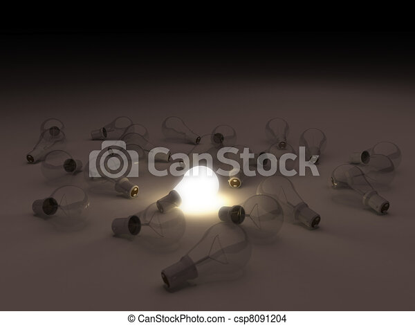 One lit light bulb amongst other broken light bulbs  - csp8091204